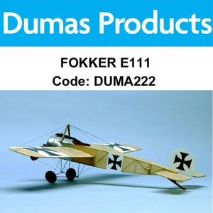 DUMAS 222 FOKKER E111 WALNUT SCALE 17.5 INCH WINGSPAN PUBBER POWERED - Hearns Hobbies Melbourne - Dumas