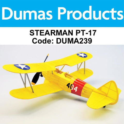 DUMAS 239 STEARMAN PT-17  WALNUT SCALE 18 INCH WINGSPAN PUBBER POWERED - Hearns Hobbies Melbourne - Dumas