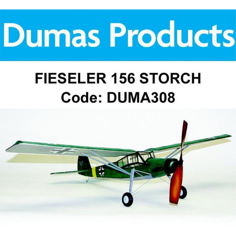 DUMAS 308 FIESELER 156 STORCH 30 INCH WINGSPAN RUBBER POWERED - Hearns Hobbies Melbourne - Dumas