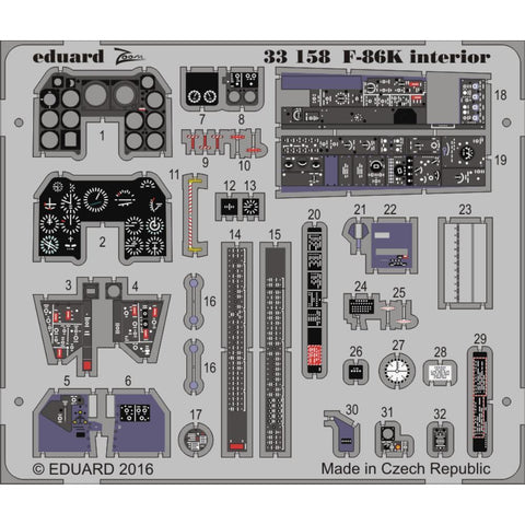 EDUARD Zoom set for 1/32 F-86K interior  1/32 (33158) - Hearns Hobbies Melbourne - EDUARD