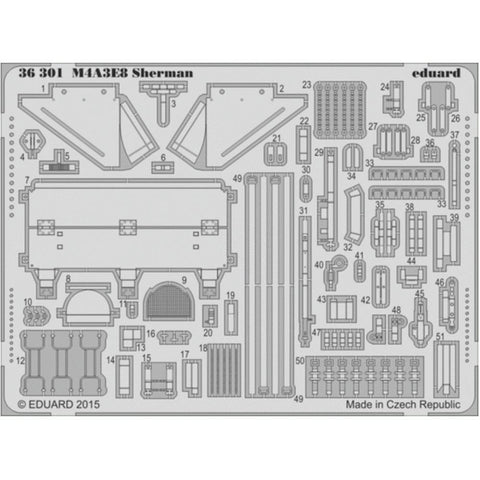 EDUARD Photoetched set for M4A3E8 Sherman 1/35 scale by Tamiya (EDK36301)