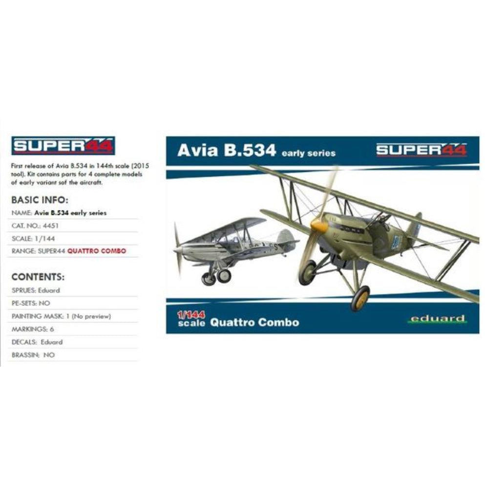 EDUARD 1/144 Avia B.534 early series QUATTRO COMBO  1/44 - Super44 (EDK4451 )