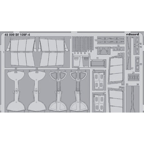 EDUARD Photo etched set for 1/48 Bf 109F-4 (48899) - Hearns Hobbies Melbourne - EDUARD