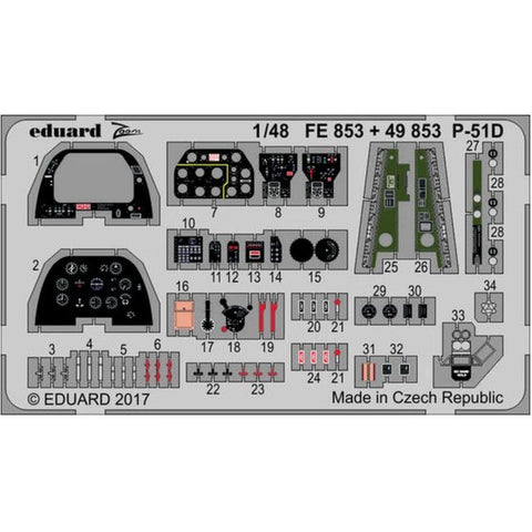 EDUARD Photo etched parts for AIRFIX P-51D interior  1/48 (EDK49853 )