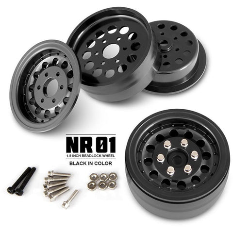 GMADE 1.9 NR01 beadlock wheels (Black) (2) (GM70224)