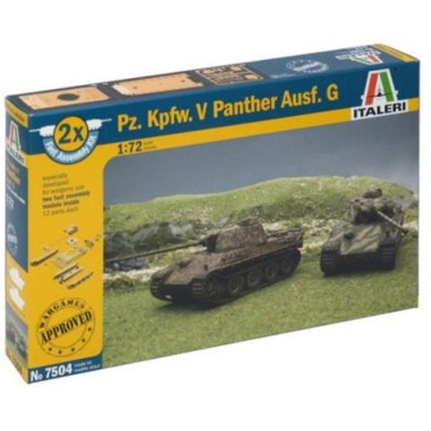 ITALERI 1/72 Pz.Kpfw.V Panther Ausf.G (2 Fast Assembly Plastic Models) Plastic Model Kit
