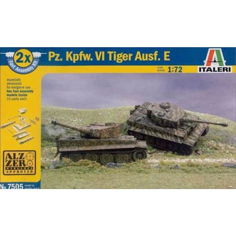 ITALERI 1/72 Pz.Kpfw.VI Tiger I Ausf.E (2 Fast Assembly Plastic Models) Plastic Model Kit