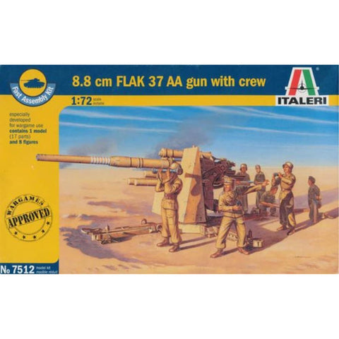 ITALERI 1/72 8.8 Cm Flak 37 AA Gun With Crew (2 Fast Assembly Plastic Models) Plastic Model Kit