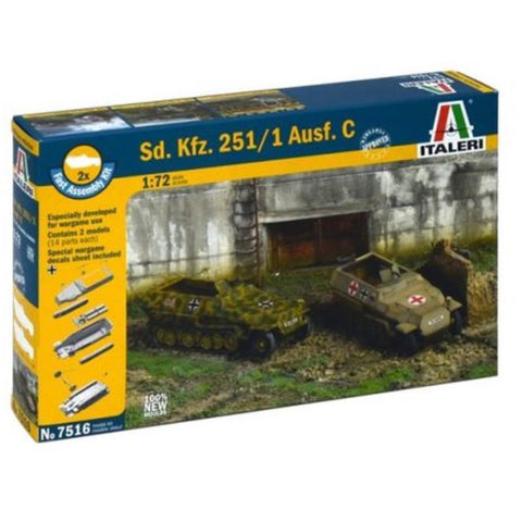 ITALERI 1/72 Sd.Kfz.251/1 Ausf.C (2 Fast Assembly Plastic Models) Plastic Model Kit