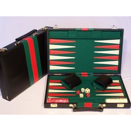 Backgammon Set  Black Vinyl Case 15""