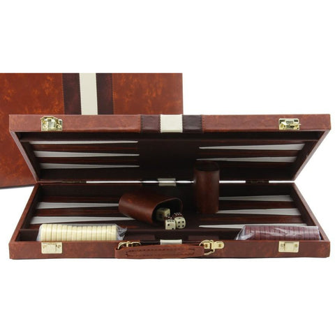 Backgammon Set  Deluxe Brown Tan Case 15""