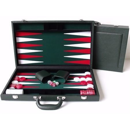 "DAL ROSSI Green Backgammon Set 15"" PU Leather"