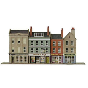 METCALFE N scale LOW RELIEF BANK & SHOPS