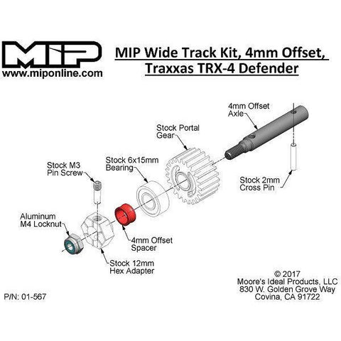 MIP Wide Track Kit, 4mm Offset, Traxxas TRX-4 Defender ( MIP17120)