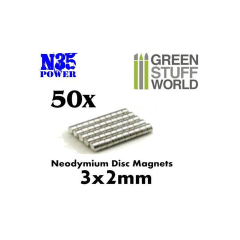 GREEN STUFF WORLD Neodymium Magnets 3 x 2mm - SET x50 (N35)