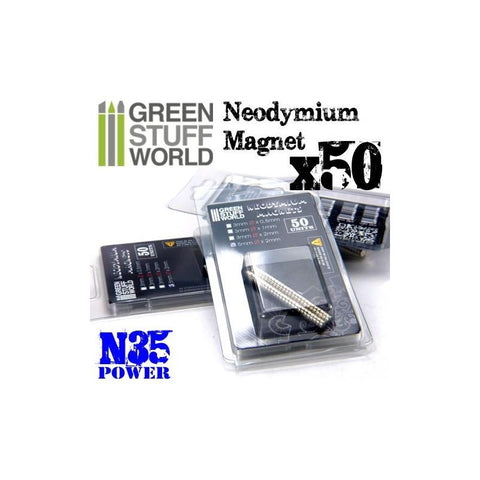GREEN STUFF WORLD Neodymium Magnets 5 x 2mm - SET x50 (N35)