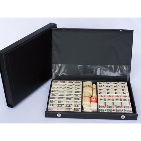 Mahjong Set Black Vinyl Case with Sticks 32cm