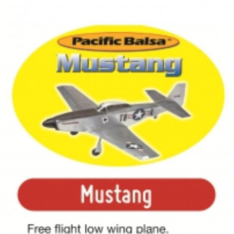 PACIFIC BALSA Mustang Free Flight Low Wing Plane inc. rubber motor assembly W/Span:612mm,L:535mmPB005280