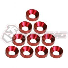 3RACING Alloy M4 Countersink Washer (10) Red