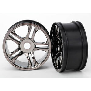 TRAXXAS WHEELS SPLIT SPOKE BLACK REAR (6476)