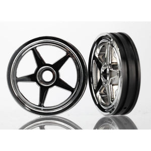 TRAXXAS WHEELS, 5-SPOKE (CHROME) (FRONT) (2) (6974)