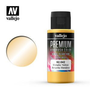 Vallejo Premium Airbrush Color Metallic Yellow 60ml
