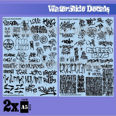 GREEN STUFF WORLD Waterslide Decals - Train and Graffiti Mi