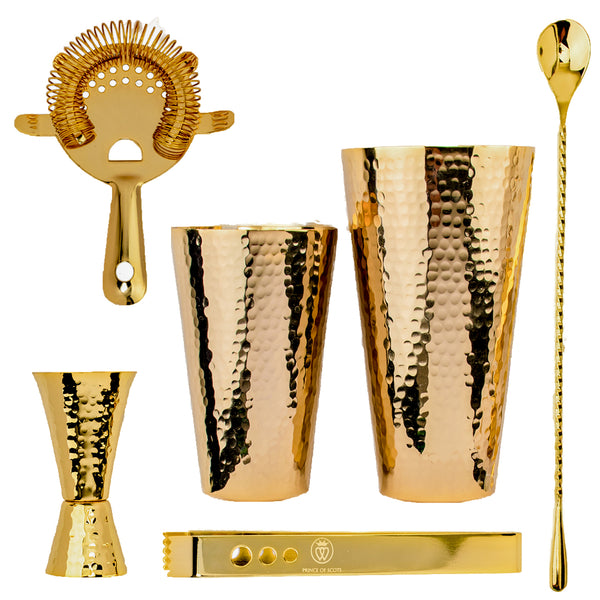 Prince of Scots 24K Gold Plate Hammered Copper Cocktail Shaker Set