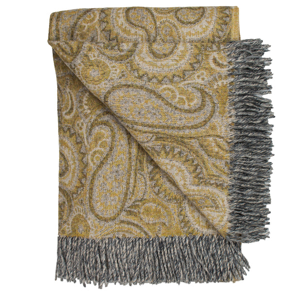 Prince of Scots Merino Wool Paisley Throw (Gold)