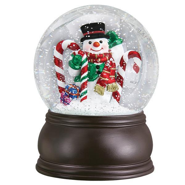 Candy Cane Snowman Snow Globe-Christmas Ornaments-CandyCaneGlobe-729343540126-Old World Christmas-Prince of Scots