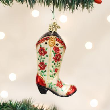 Christmas Cowgirl Boot Ornament-Home-Old World Christmas-Prince of Scots