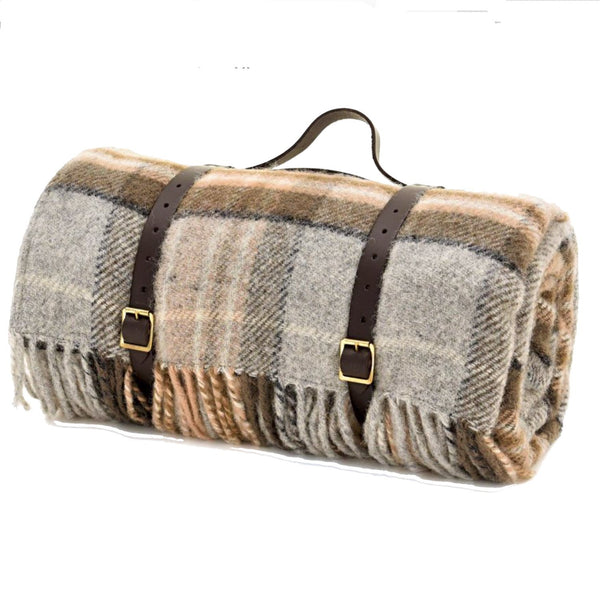 Highland Tweed Tartan Roll-Up Picnic Blanket ~ Tan Plaid ~-Throws and Blankets-Prince of Scots-Q4050030-011-Prince of Scots