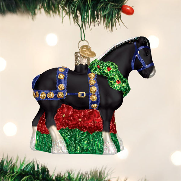 Holiday Black Clydesdale Christmas Ornament-Christmas Ornaments-Old World Christmas-Prince of Scots