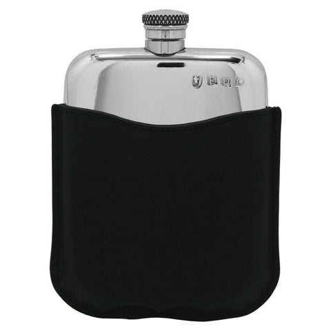 Premium Pewter Flask with Black Leather Pouch ~ Smooth ~-Gifts-Prince of Scots-Prince of Scots