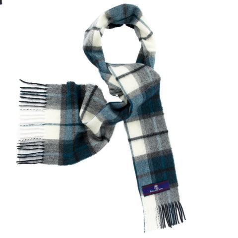 Prince of Scots Heritage Plaid Fringed Merino Wool Scarf (Dumfries Blue)-scarf-Prince of Scots-HScarfD02-810032759889-Prince of Scots