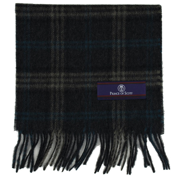Prince of Scots Heritage Plaid Fringed Merino Wool Scarf (Storrs Charcoal)-scarf-HScarf470D3-810032759926-Prince of Scots-Prince of Scots