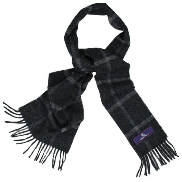 Prince of Scots Heritage Plaid Fringed Merino Wool Scarf (Yorkshire Charcoal)-scarf-HScarf465A1-810032759933-Prince of Scots-Prince of Scots