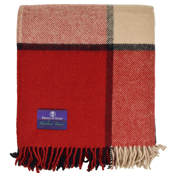 Prince of Scots Highland Tweed Large Plaid Pure New Wool Throw ~ Brick ~-Throws and Blankets-Prince of Scots-0634934461615-K4050031-010-Prince of Scots