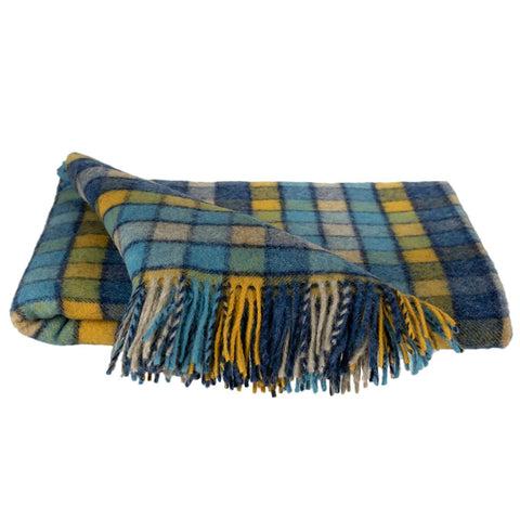 SOUTHAMPTON HOME Americana Collection (Blue/Gold Check)-Throws and Blankets-Prince of Scots-, Q350005-Prince of Scots