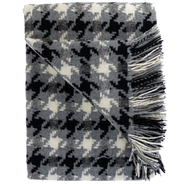 SOUTHAMPTON HOME Modern Geometrics Throw Collection (Black Houndstooth)-Throws and Blankets-Prince of Scots-, Q360004-Prince of Scots