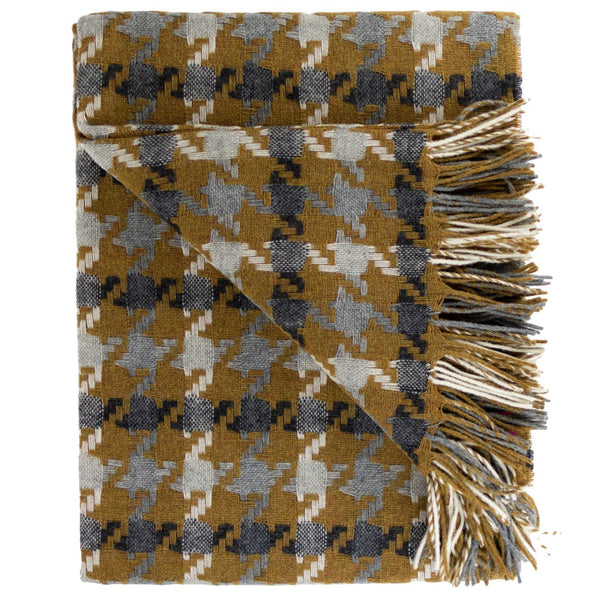 SOUTHAMPTON HOME Modern Geometrics Throw Collection (Gold Houndstooth)-Throws and Blankets-Prince of Scots-, Q360002-Prince of Scots