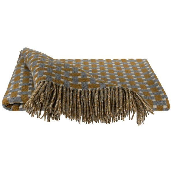 SOUTHAMPTON HOME Modern Geometrics Throw Collection (Gold Tile)-Throws and Blankets-Prince of Scots-, Q360001-Prince of Scots