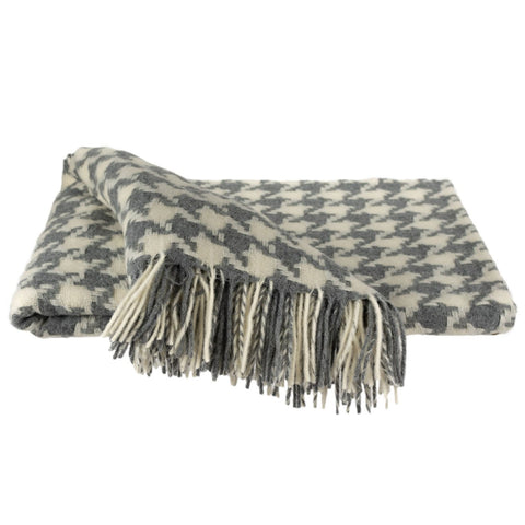 SOUTHAMPTON HOME Modern Geometrics Throw Collection (Silver Houndstooth)-Throws and Blankets-Prince of Scots-, Q360003-Prince of Scots