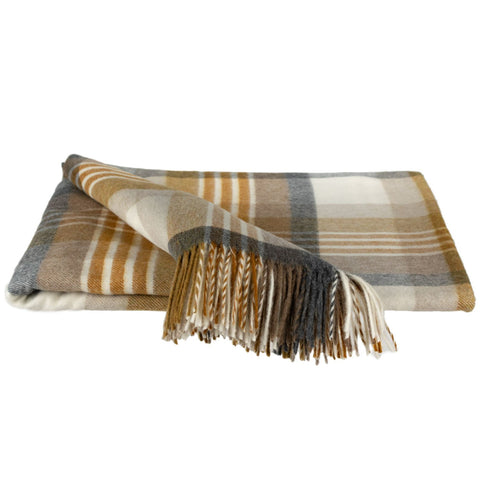 SOUTHAMPTON HOME Town and Country Tartan (Graphite & Gold)-Throws and Blankets-Prince of Scots-, Q340002-Prince of Scots