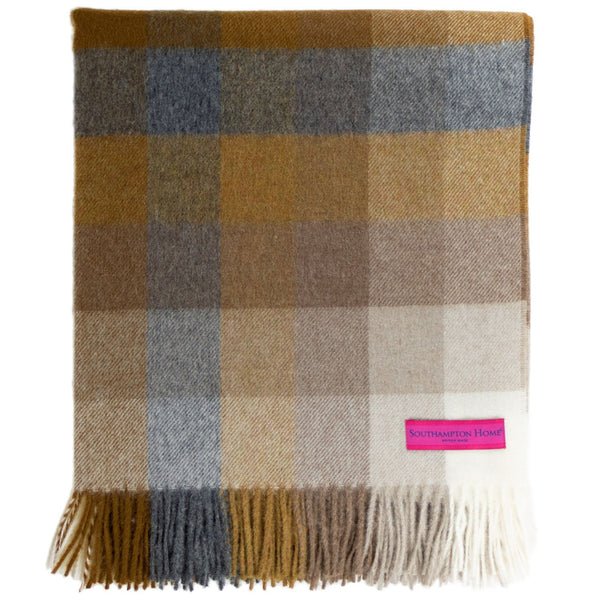SOUTHAMPTON HOME Town & Country Check (Graphite & Gold)-Throws and Blankets-Prince of Scots-, Q330004-Prince of Scots