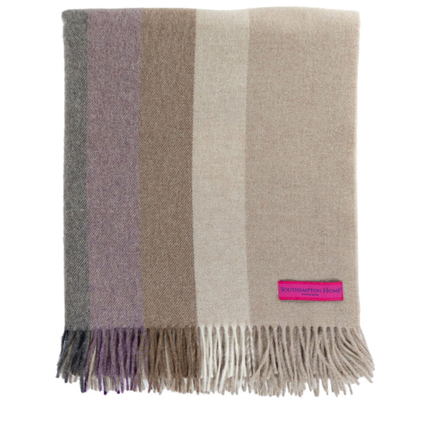 SOUTHAMPTON HOME Town & Country Stripe (Beach Plum)-Throws and Blankets-Prince of Scots-, Q320003-Prince of Scots