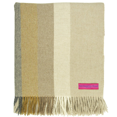 SOUTHAMPTON HOME Town & Country Stripe (Graphite & Gold)-Throws and Blankets-Prince of Scots-, Q320006-Prince of Scots