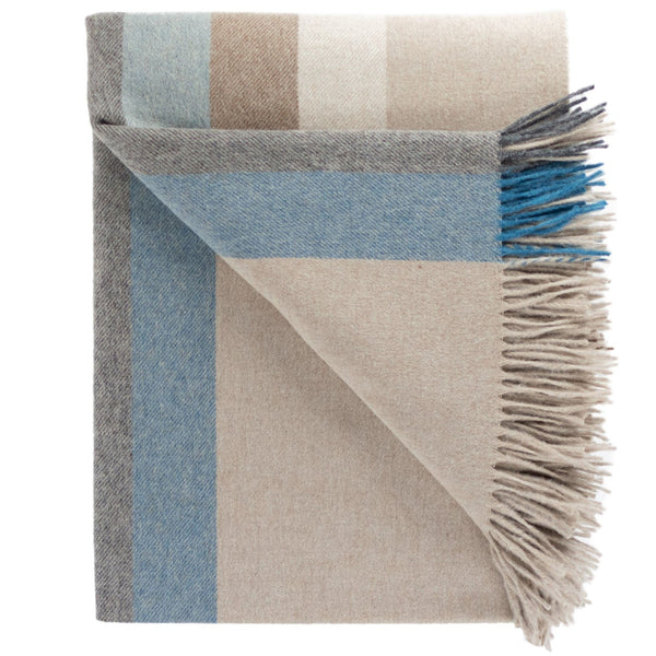 SOUTHAMPTON HOME Town & Country Stripe (Sky Blue)-Throws and Blankets-Prince of Scots-, Q320005-Prince of Scots