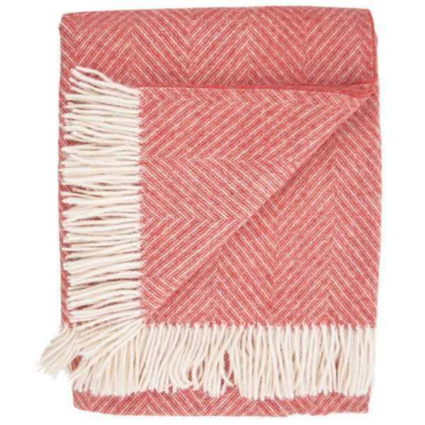 SOUTHAMPTON HOME Wool Herringbone Throw (Orange Lily)-Throws and Blankets-Prince of Scots-810032751012-Q028006-Prince of Scots