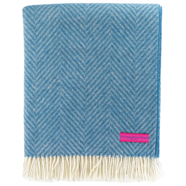 SOUTHAMPTON HOME Wool Herringbone Throw (Peconic Blue)-Throws and Blankets-Prince of Scots-810032751029-Q028001-Prince of Scots